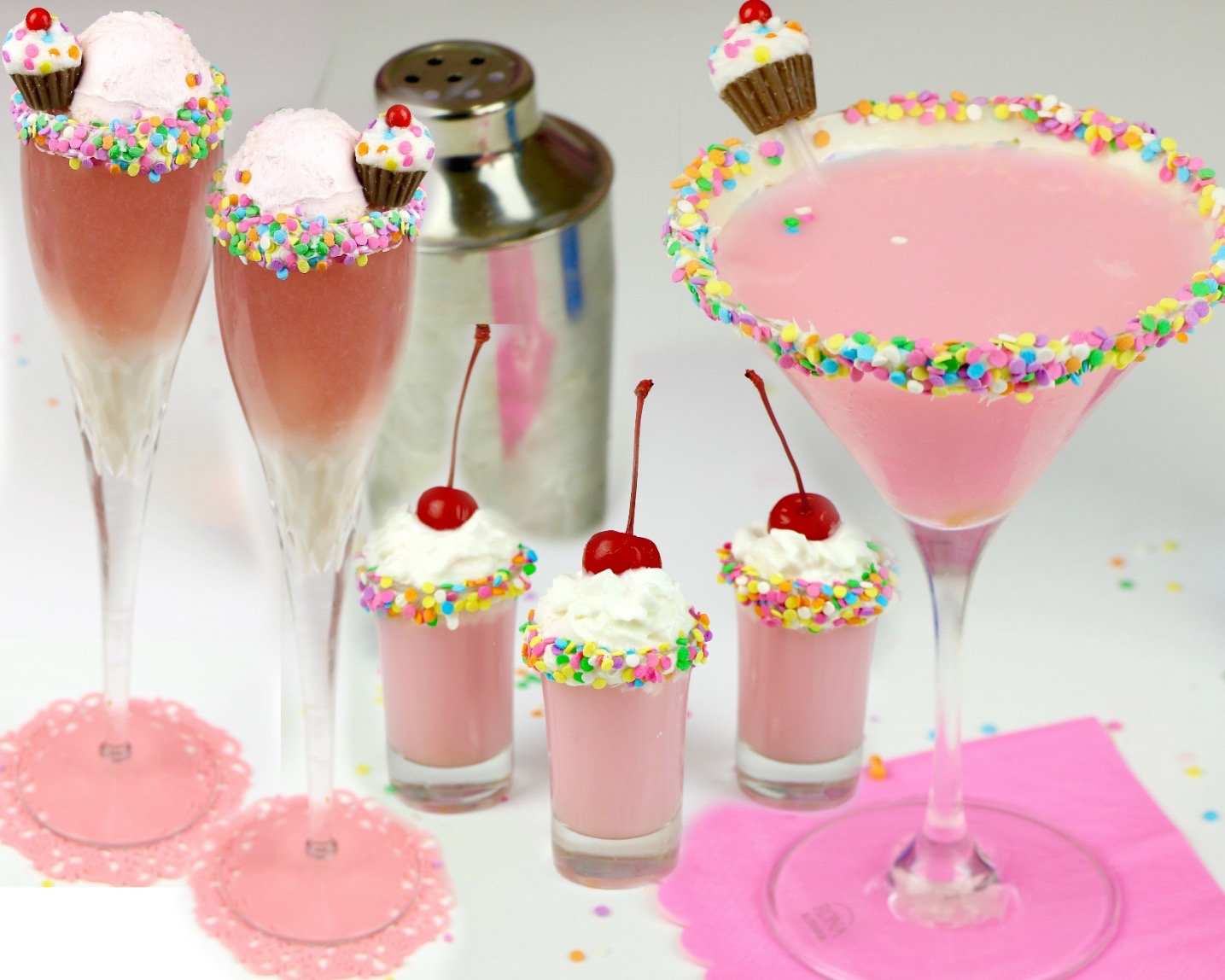 VIDEO Cupcake Cocktails Mocktails Funfetti Martini Mimosa