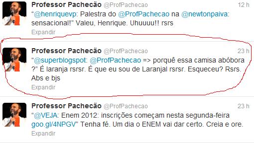 Pachecão responde sobre a camisa laranja no Twitter
