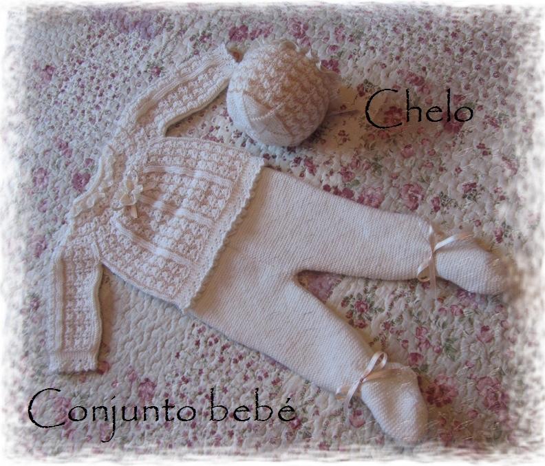 El rincón de Chelo: Conjunto para bebé en beige.....