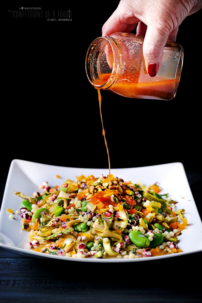 ... : Spring Vegetable Salad with Israeli Couscous and Harissa Dressing