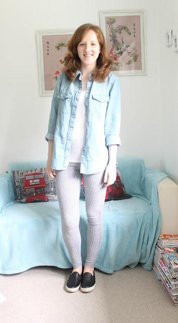 OOTD: New Denim Shirt and Leggings fashion blogger Topshop Zara H&M blog