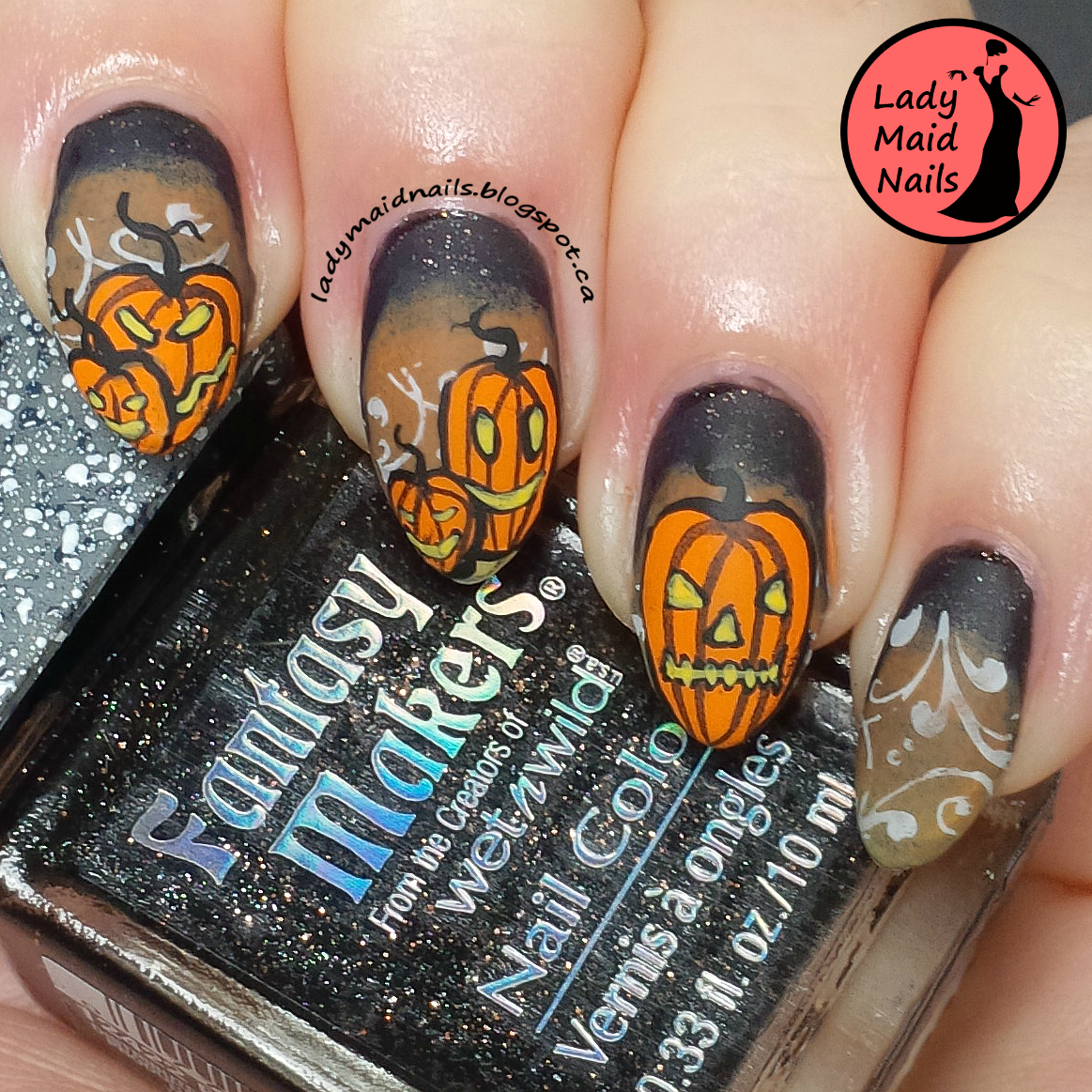Lady Maid Nails: Jack-o-lantern Nail Art