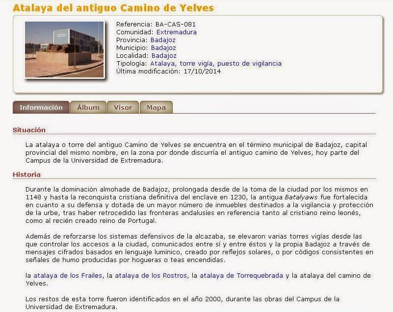 CastillosNet: Atalaya del antiguo Camino de Yelves (Badajoz)