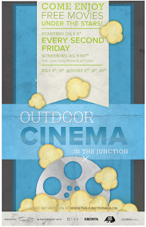 Free Movies at the Outdoor Cinema in The Junction, Toronto; poster Junction BIA
