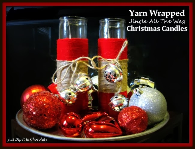 Yarn Wrapped Jingle All The Way Christmas Candles   @ Just Dip It In Chocolate