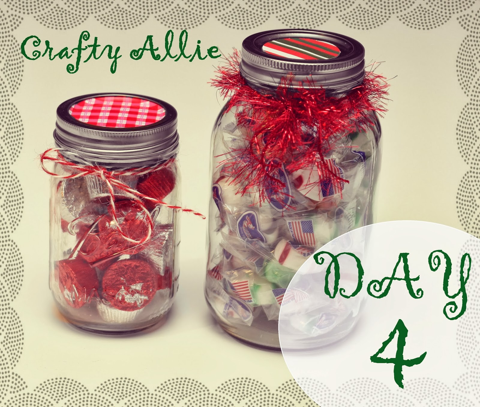 Crafty allie day 4 of the 12 days of christmas christmas for What to fill mason jars with for christmas