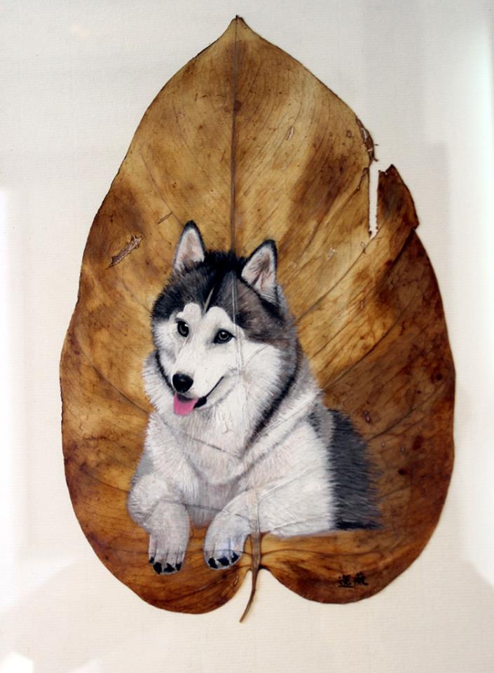 01-Siberian-Husky-Dog-Pang Yande-Leaf-Painting-Folk-Art-and-Environmental-Protection-www-designstack-co