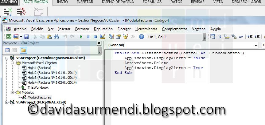 Código desarrollado en artículos anteriores que elimina hojas de Excel.