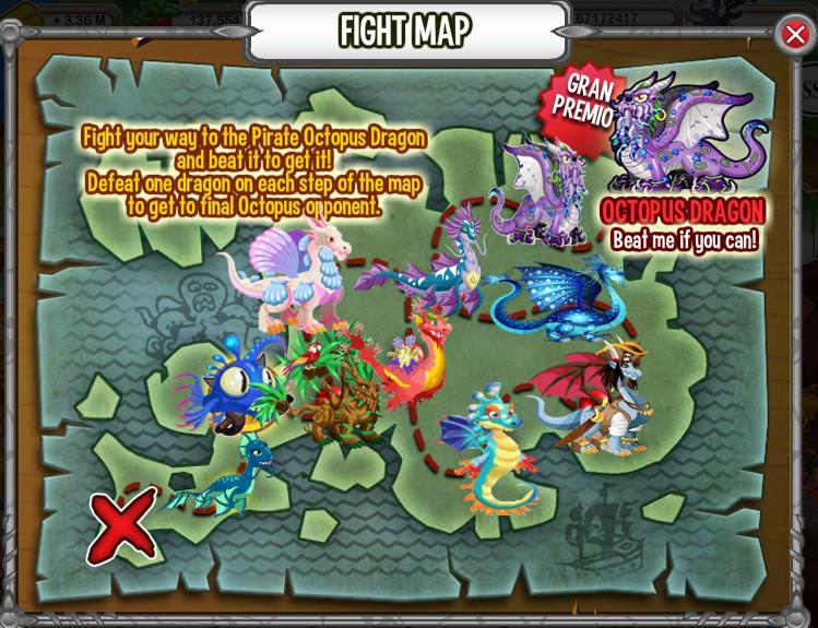dragones oponentes de la busqueda pirata
