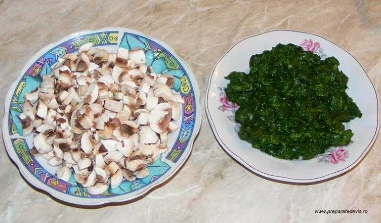 spanac, ciuperci, retete cu spanac si ciuperci, preparate din spanac si ciuperci, retete de post, retete culinare, legume,