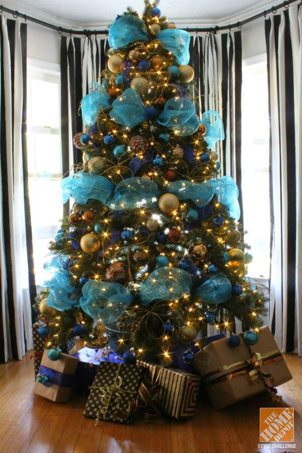 Rboles de navidad color turquesa y oro colores en casa - Arbol de navidad colores ...
