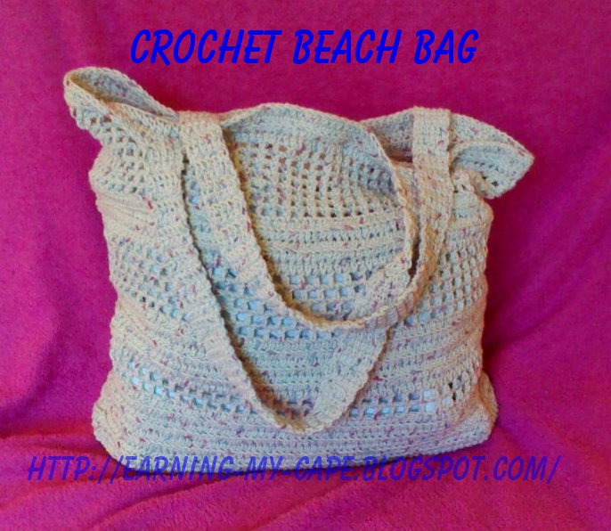 Crochet Patterns For Beach Bag : Earning-My-Cape: Crochet Beach/Market Bag