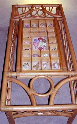 wicker coffee table with display space for shells