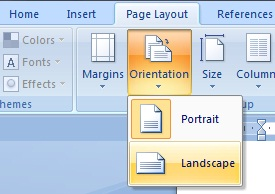 how to change word to landscape