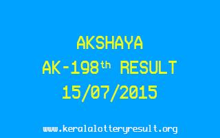 Akshaya AK 198 Lottery Result 15-7-2015