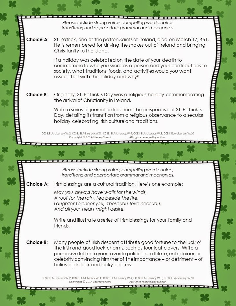 https://www.teacherspayteachers.com/Product/St-Patricks-Day-Writing-Task-Cards-Grades-7-8-9-1137793