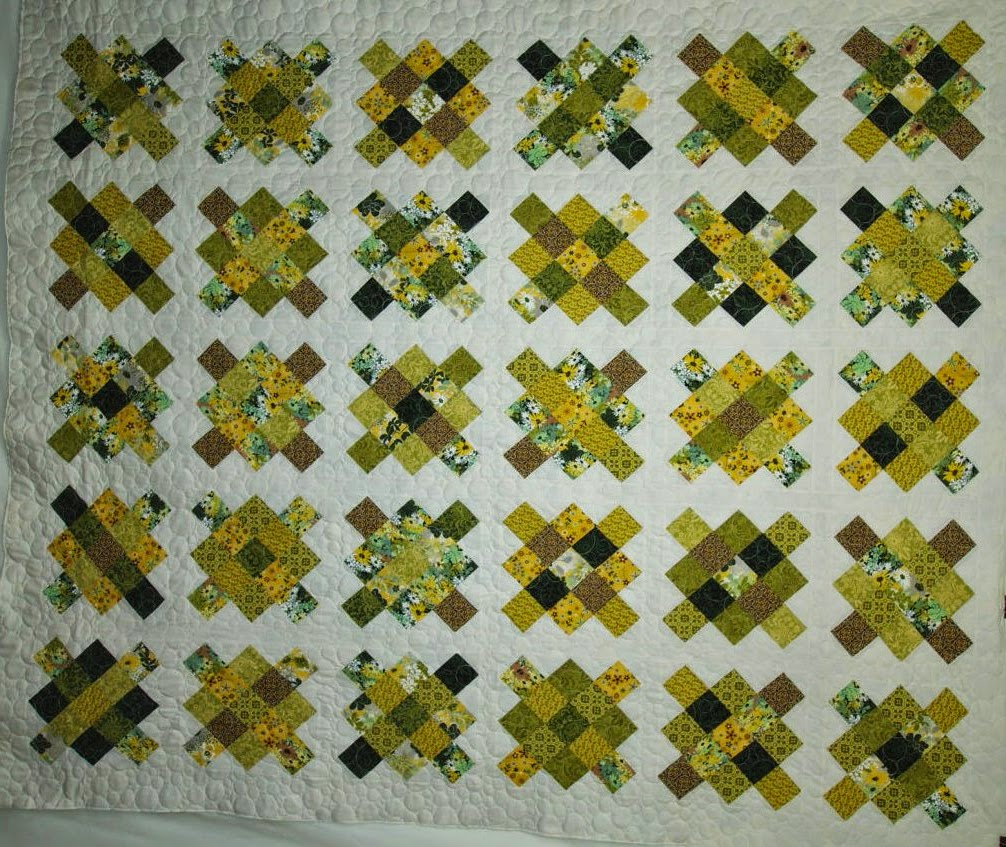 Robin Haralambous Yellow and Green Granny Square Quilt