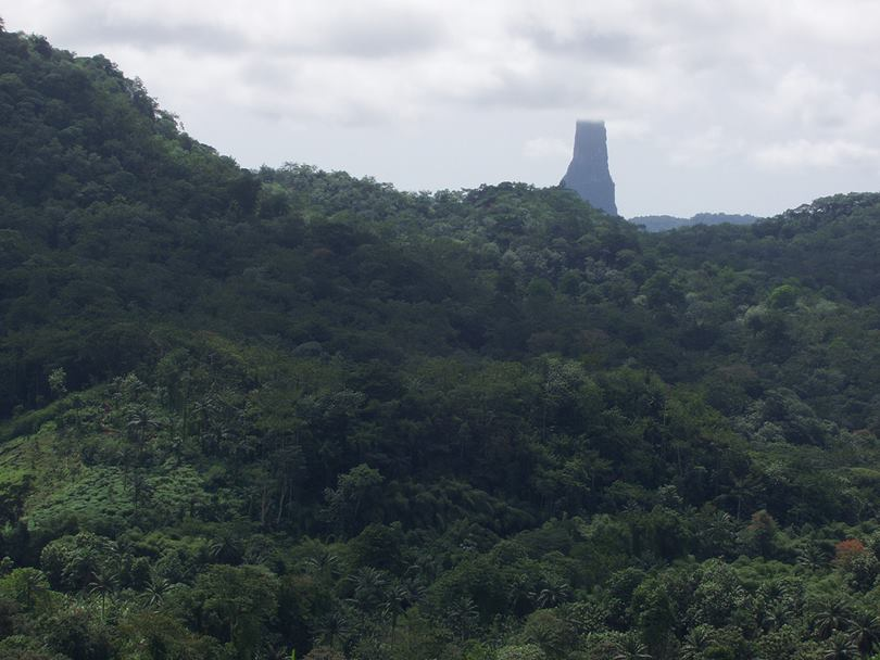 Pico Cao Grande volcanic cone on the island of São Tomé and Príncipe