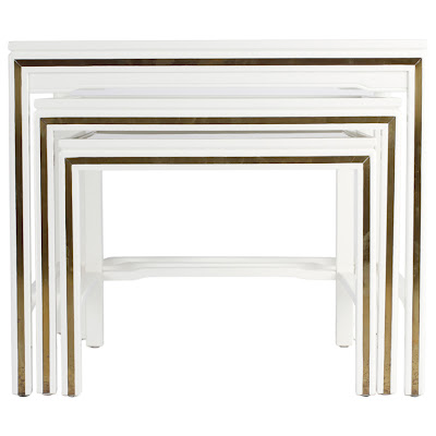 White Lacquered Brass End Tables Vintage
