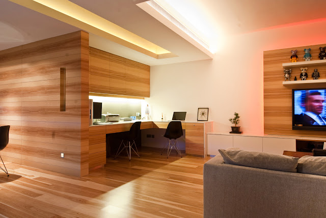 Picture of small home office in the corner as part of the Hong Kong apartment design