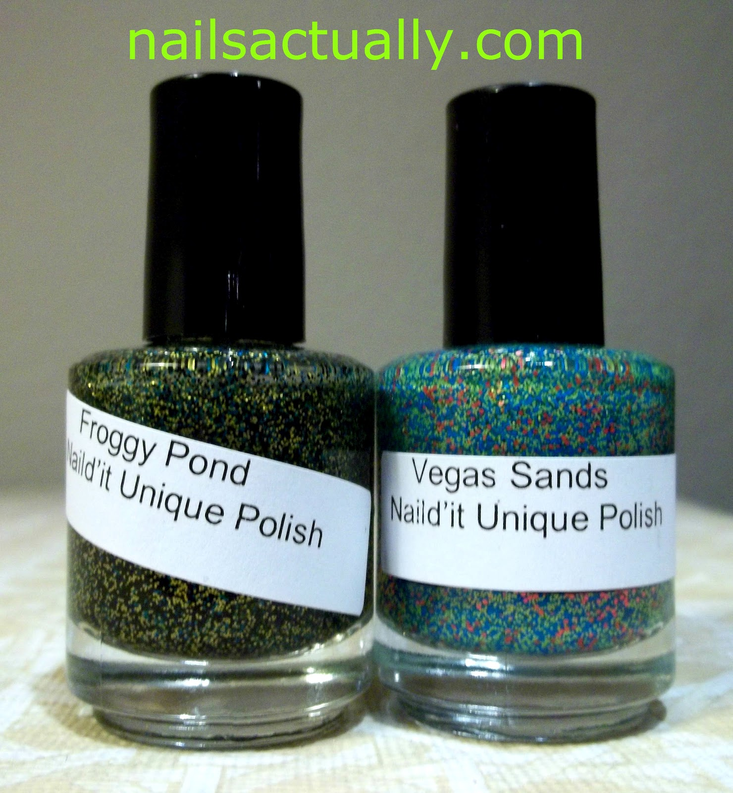 Nails Actually: Naild\'It Unique Polishes Froggy Pond and Vegas Sands