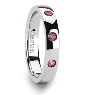 http://weddingbandsforboth.com/diana-domed-cobalt-chrome-wedding-band-with-3-pink-sapphires-4-mm/