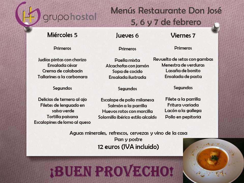 menús del 5 al 7 de febrero en Restaurante Don Jose