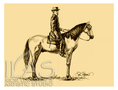 Robert E. Lee on his horse Traveller