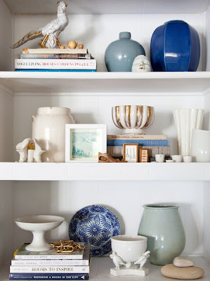 blue and white bookcase