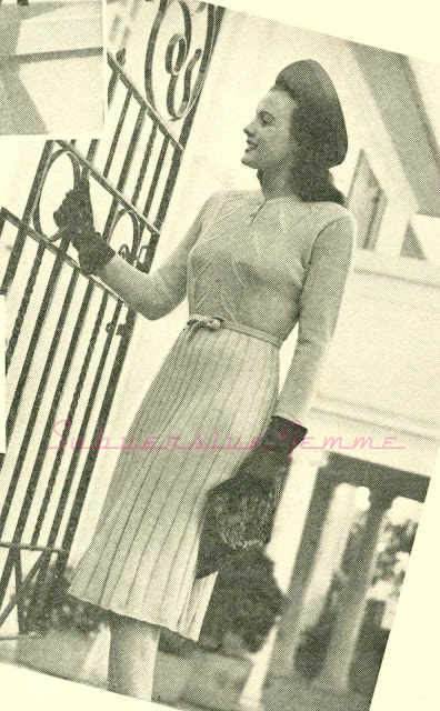 1940s free vintage knitting pattern dress xl plus forties war australia sun-glo