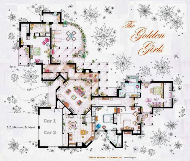 Plano de la casa de Blanche Deveraux, Rose Nylund, Dorothy Sporznak y Sophia Petrillo. Las chicas de oro. Planos de apartamentos de series de televisión