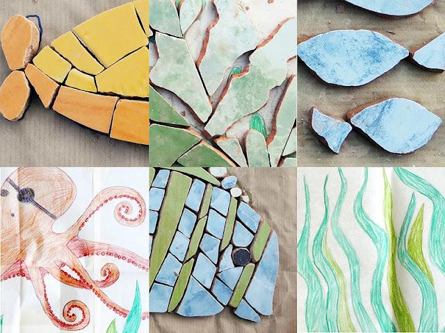 morze w łazience - mozaika artystyczna