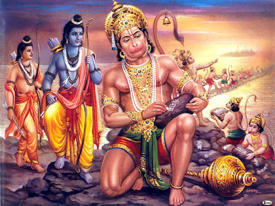 hanuman constructing adams bridge