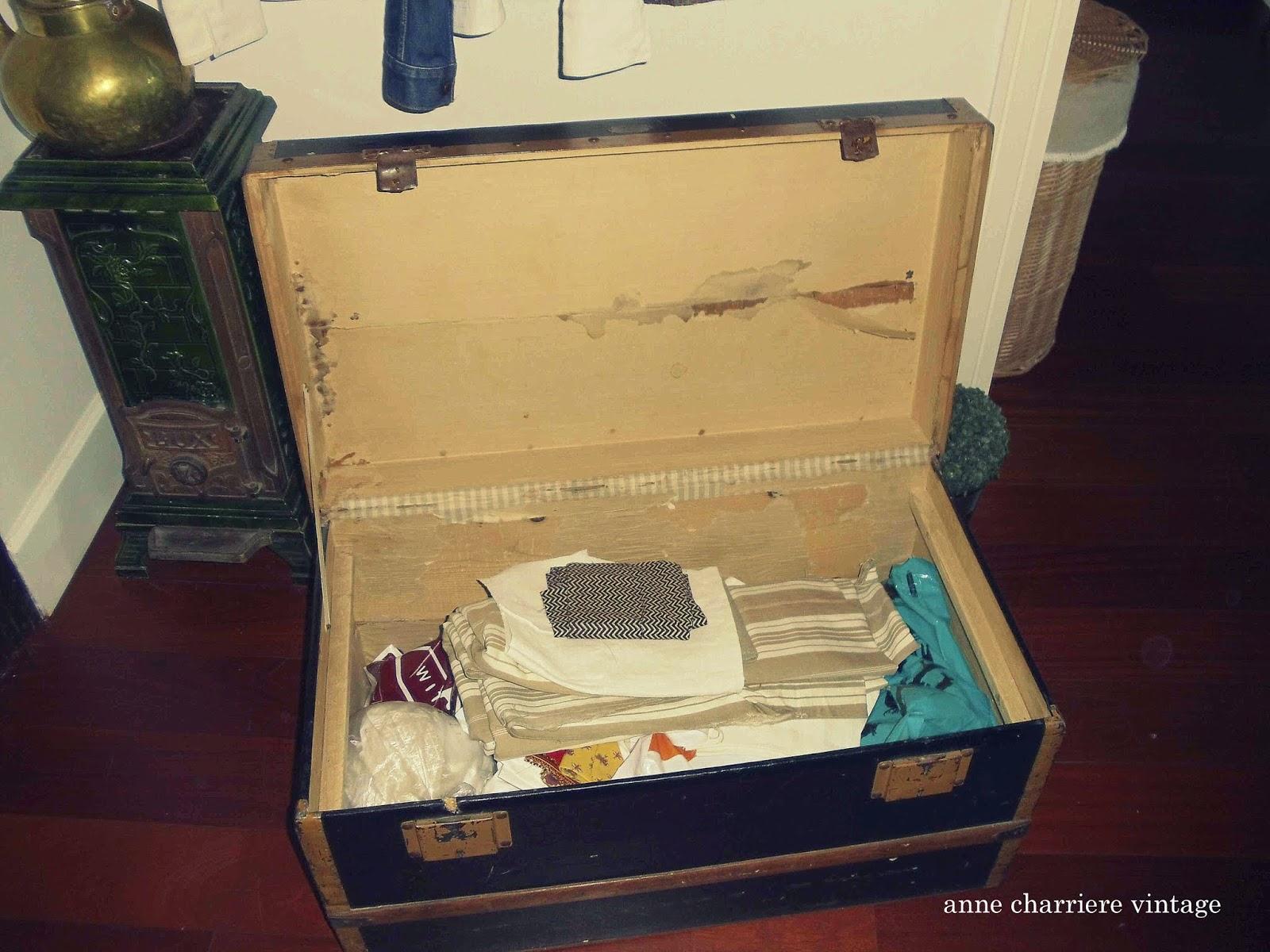 anne charriere, forrar baúl antiguo, tela, papel,