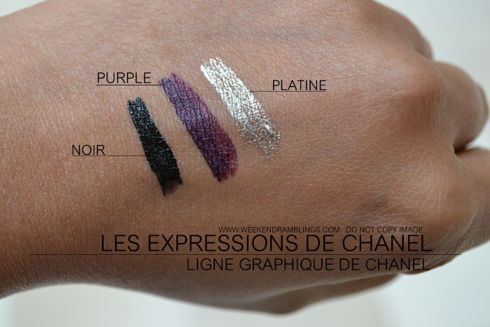Les Expressions de Chanel Makeup Collection Ligne Graphique de Chanel Liquid Eyeliner Intensity Noir Purple Platine Swatches Indian Beauty Blog