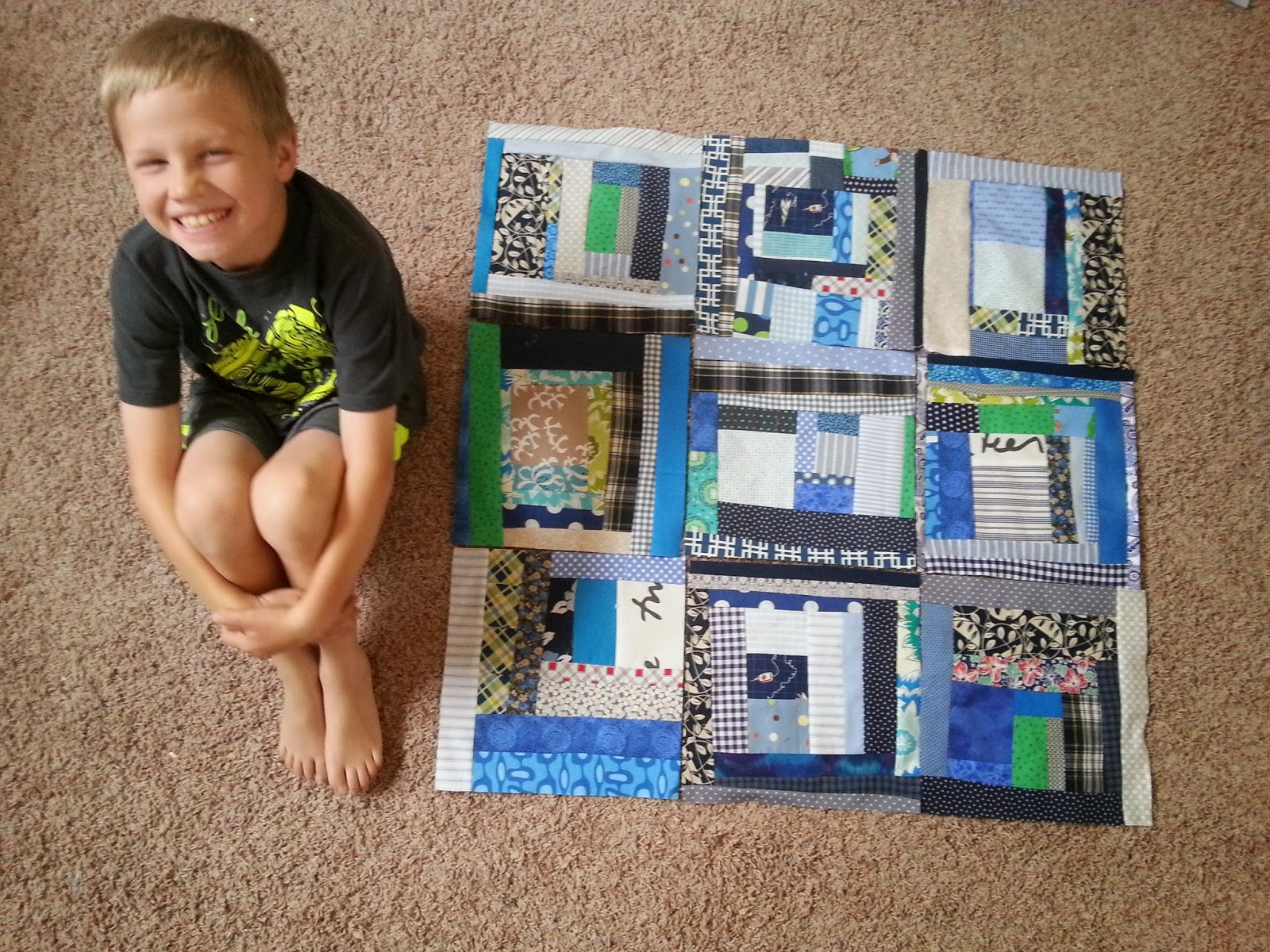 A Boy and his Quilt Blocks