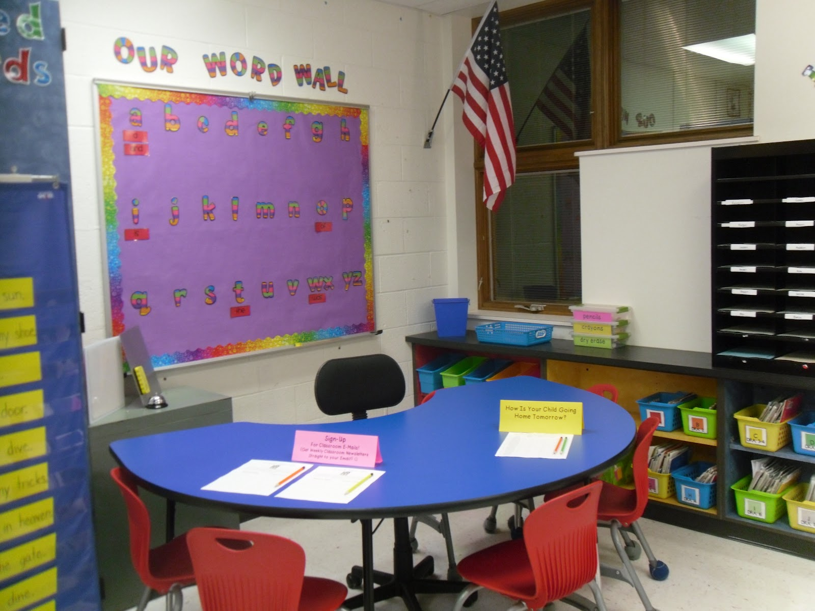 Word wall behind guided reading table classroom decor for Classroom wall mural ideas