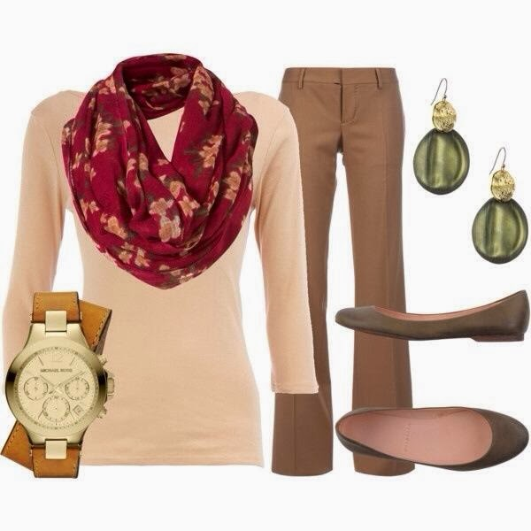 Bell-Bottom Trousers with Pinkish Shirt, Red Flower Patterned, Circle Scarf, Grey Babets, Green Adorable Earrings and Michael Kors Watch, Fashion for Fall