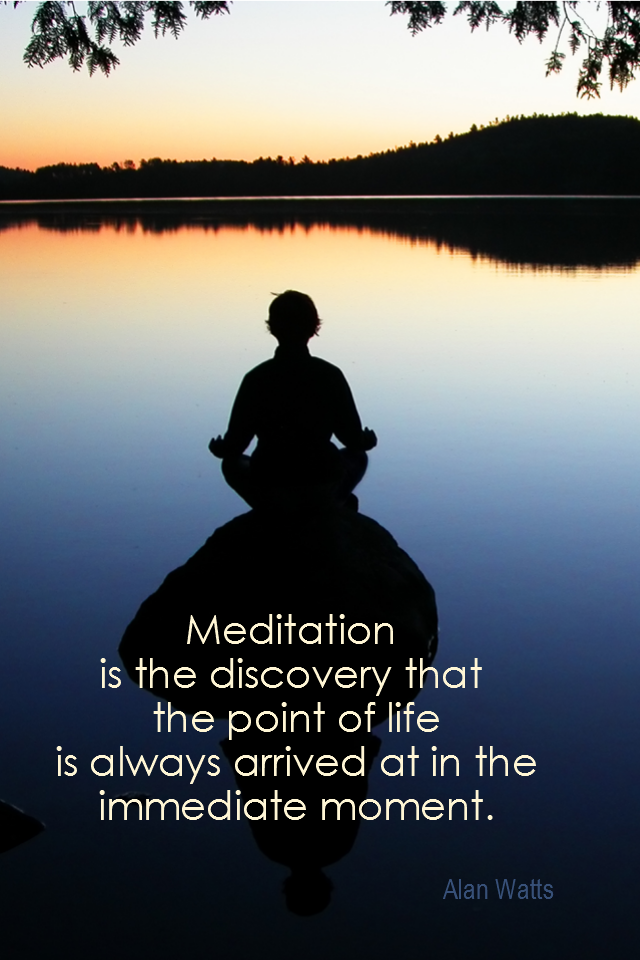 visual quote - image quotation for MEDITATION - Meditation is the discovery that the point of life is always arrived at in the immediate moment. - Alan Watts