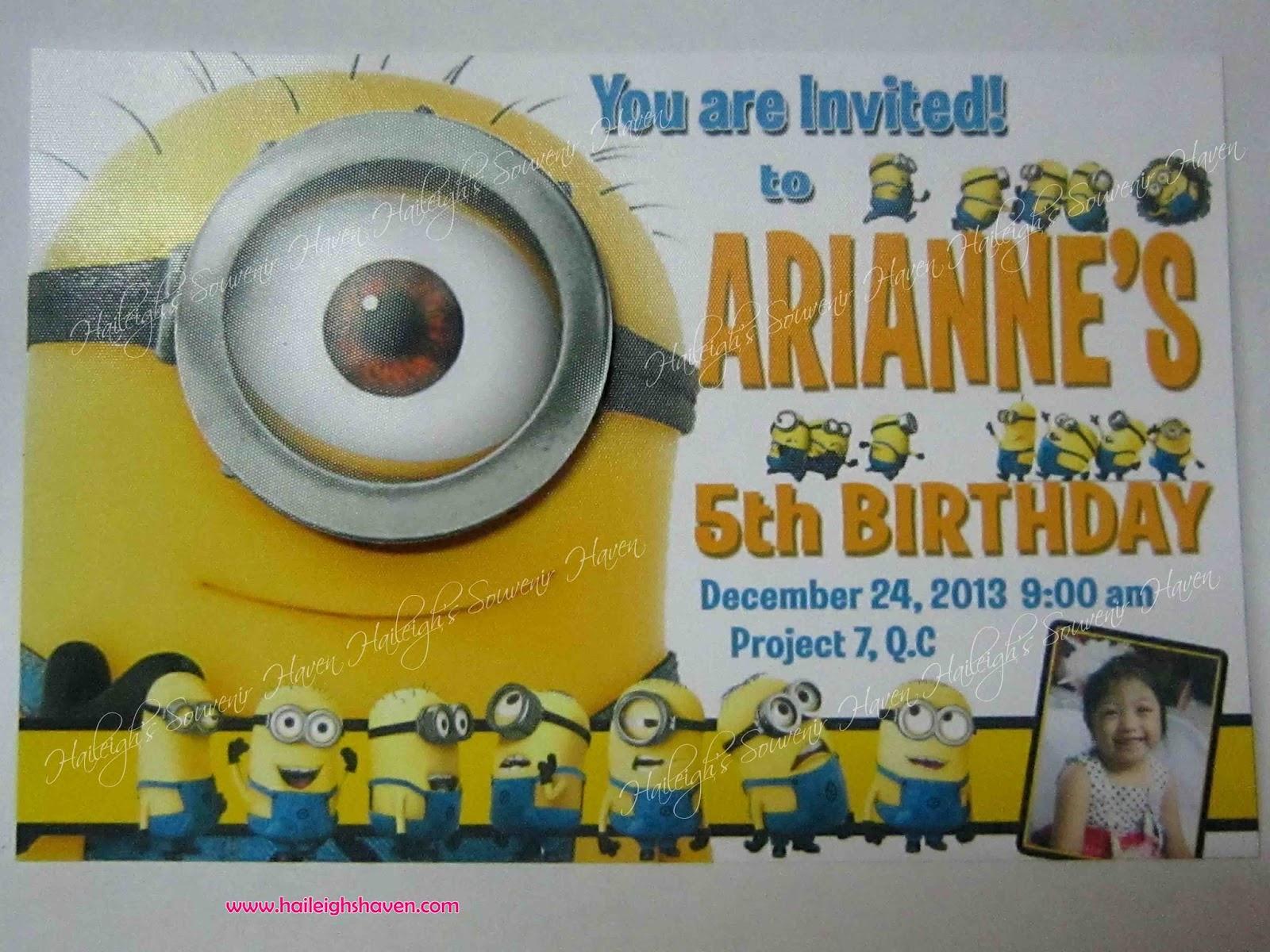 Invitation despicable me minion theme haileighs souvenir haven invitation despicable me minion theme stopboris Gallery