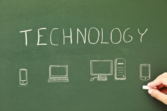 technology on a chalkboard