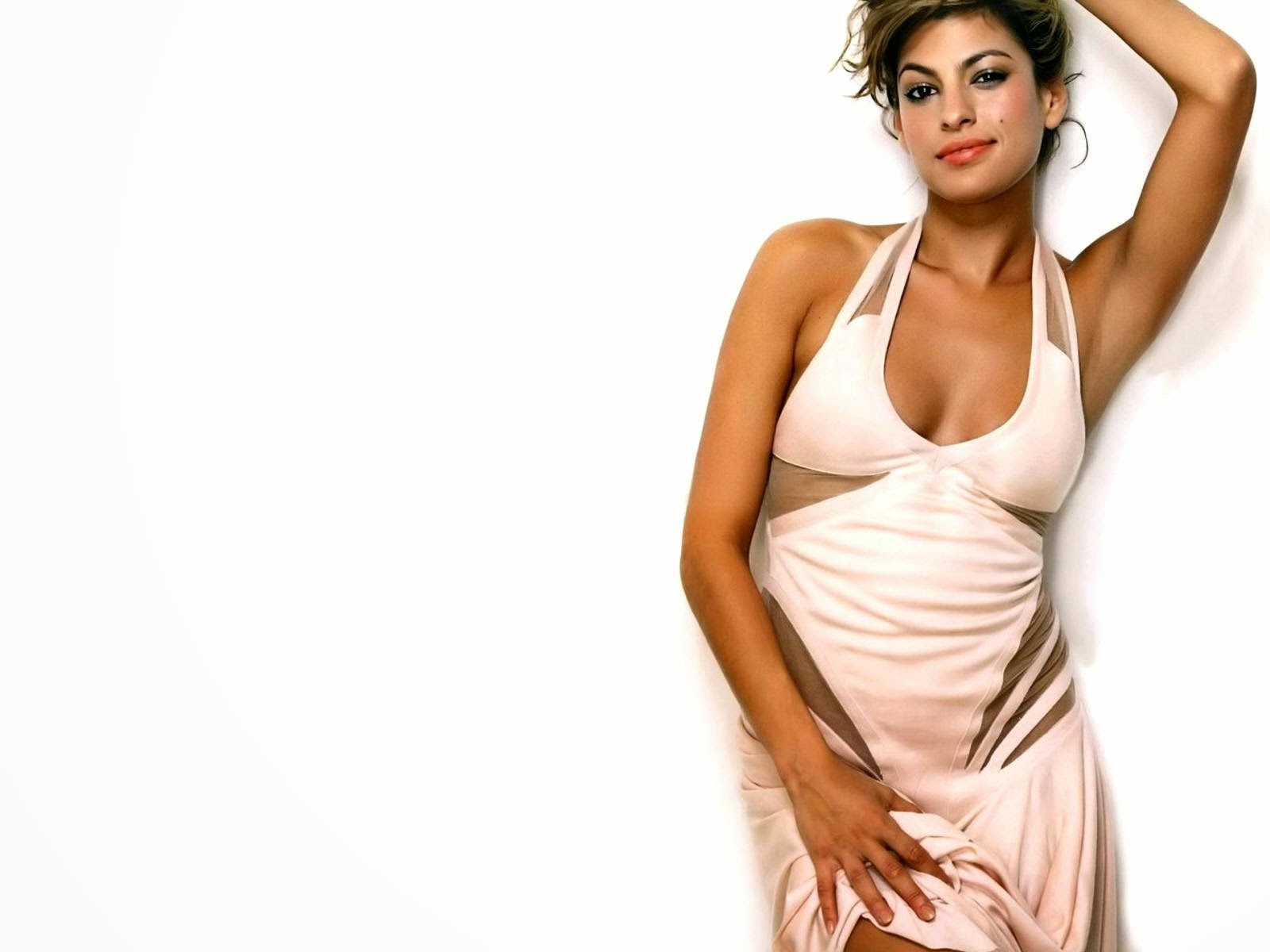 Eva mendes of hollywood actress in white dress wallpaper