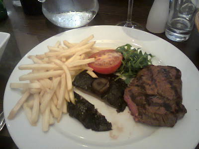 plate of steak and chips