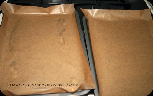 Triple Chocolate Cookies Brownies. Lined Baking Trays. www.lukeosaurusandme.blogspot.co.uk
