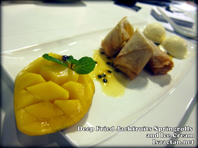 Deep Fried Jackfruits Springrolls with Passion Fruit Coulis and Ice Cream