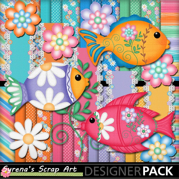 digital scrapbook kit tropical fish
