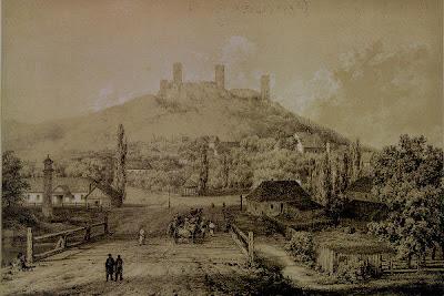 Zamek w Chęcinach - litografia Napoleona Ordy