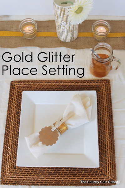 Gold Glitter Place Setting -- perfect for a dinner party or a wedding reception.  The elements for this are super easy to make!