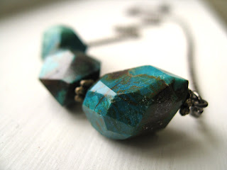 http://www.etsy.com/listing/83501765/chrysocolla-necklace-geo-rock-emerald