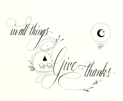 matthew reid art calligraphy thanksgiving quote in all things give thanks typography